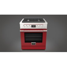 """30"""" Dual Fuel Range - Glossy Red"""