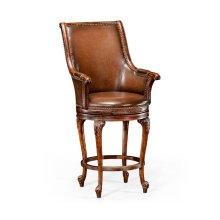 Revolving Tub Barstool Brown Leather (Arm)