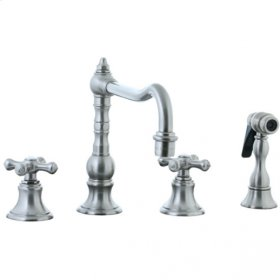 Highlands - 4 Hole Widespread Pillar Kitchen Faucet with Side Spray - Unlacquered Brass