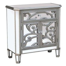 CABINET SILVER 2 DOOR - 1 DRAWER MIRROR GLASS / MDF WITH SOLID WOOD LEGS
