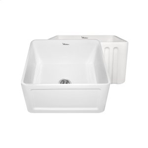 Farmhaus Fireclay Reversible Series fireclay sink with a concave front apron on one side and a fluted front apron on the opposite side. Product Image