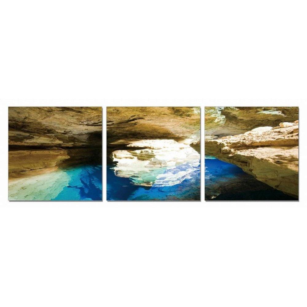 Modrest Blue Grotto 3-Panel Photo On Canvas
