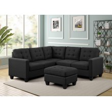 9119 Tufted Linen Fabric Sectional Sofa