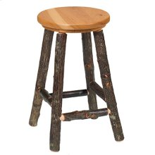"Round Counter Stool - 24"" high - Natural Hickory - Wood Seat"