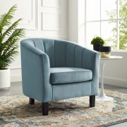 Prospect Channel Tufted Performance Velvet Armchair in Light Blue Product Image