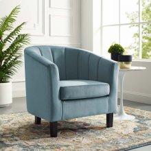 Prospect Channel Tufted Performance Velvet Armchair in Light Blue