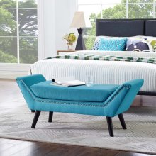 Gambol Upholstered Fabric Bench in Pure Water