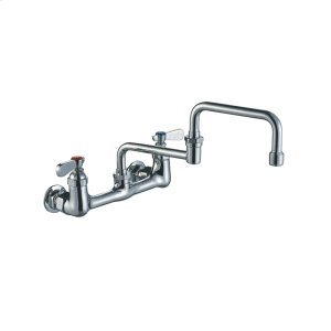 Heavy-duty wall mount utility faucet with double-jointed retractable swing spout and lever handles. Product Image