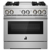 """RISE 36"""" Dual-Fuel Professional Range with Chrome-Infused Griddle"""