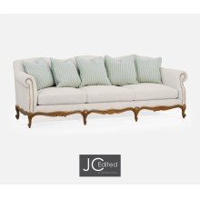 """101"""" Casual Lawson Style Grey Fruitwood Sofa, Upholstered in Will Linen"""