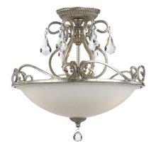 Ashton 3 Light Hand Cut Crystal Silver Ceiling Mount