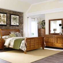 Queen Sleigh Bed, Dresser & Mirror, N/S