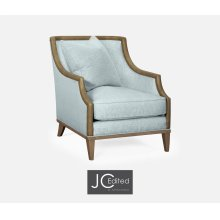"""29 1/4"""" Casual Sloped Golden Amber Sofa Chair, Upholstered in Will Gray Linen"""
