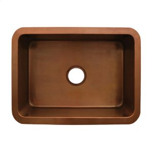 "Copperhaus rectangular undermount sink with a smooth texture and a 3 1/2"" center drain - 14 gauge copper sink Product Image"