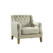 Tufted Linen Lounge Chair