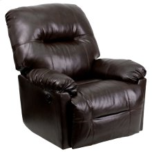 Contemporary Bentley Brown Leather Chaise Power Recliner with Push Button