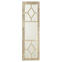 Distressed Grey & White Window Pane Wall Mirror