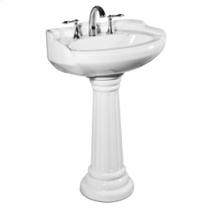 White ARLINGTON Pedestal Lavatory Medium, 8-inch spread