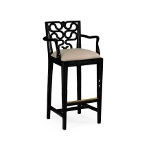 Serpentine Back Counter Stool (Side/Black)