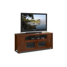 "64"" Wide Credenza, Solid Wood and Veneer In A Solid Wood and Veneer In A Walnut Finish, Accommodates Most 70"" and Smaller Flat Panels - No Tools Required"