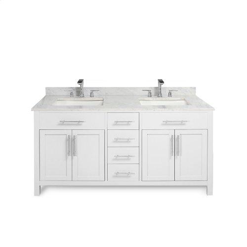 Walnut Brown MALIBU 60-in Double-Basin Vanity Cabinet with Carrara Marble Stone Top and Karo 18x12 Sink