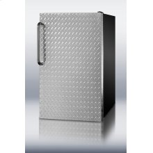 """20"""" wide built-in undercounter all-freezer, -20° C capable with a diamond plate door and black cabinet"""