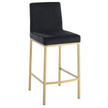 Diego 26'' Counter Stool, set of 2, in Black with Gold Legs