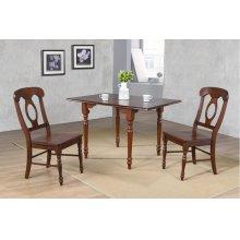 DLU-ADW3448-C50-CT3PC  3 Piece Drop Leaf Dining Set  Chestnut with Napoleon Chairs
