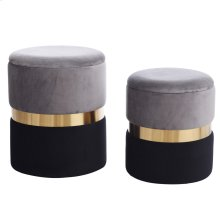 DARYAN OTTOMAN- SET OF 2  Gray and Black Velvet Storage Ottoman with Gold Finish on Metal Band