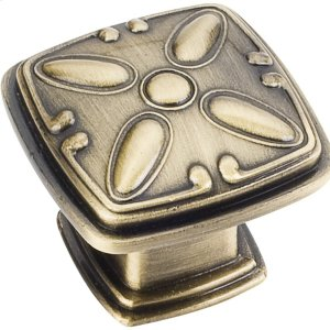 "1-3/16"" Overall Length Decorated Square Cabinet Knob. Product Image"