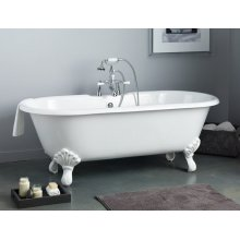 REGAL Cast Iron Bath with Shaughnessy Feet With Flat Area for Faucet Holes