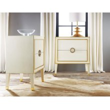 Retro Nightstand, Painted Antique Cream W/ Gold Leaf Accents. Solid Brass Hardware.
