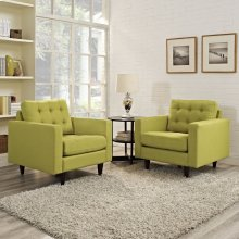 Empress Armchair Upholstered Fabric Set of 2 in Wheatgrass