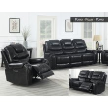 Steve Silver Park Avenue Black Pwr-Pwr-Pwr 3PC Reclining Sofa, Loveseat & Recliner