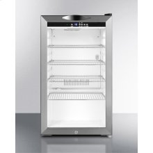 Commercially approved counter height beverage merchandiser with glass door, stainless steel cabinet, front lock, and digital thermostat