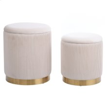 BEECHER OTTOMAN BEIGE- SET OF 2  Beige Ribbed Velvet Storage Ottoman with Gold Finish on Metal Band