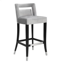 Hart Grey Velvet Bar Stool