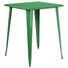 """Commercial Grade 31.5"""" Square Green Metal Indoor-Outdoor Bar Height Table"""