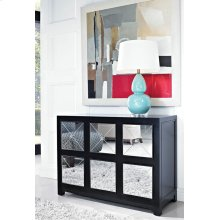 Mirrored 6-Drawer Black Wood Console