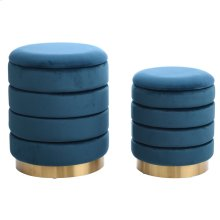 HOLLACE OTTOMAN GREEN- SET OF 2  Emerald Green Velvet Storage Ottoman with Gold Finish on Metal Ban