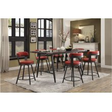 5pc - Dining Set (Includes: Counter Height Table w/ Glass Insert & 4 Swivel Counter Height Red Chairs)