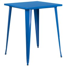 """Commercial Grade 31.5"""" Square Blue Metal Indoor-Outdoor Bar Height Table"""