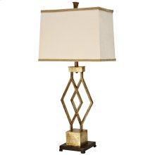 Vintage Gold Metal Base Table Lamp with Designer Fabric Trimmed Hardback Shade