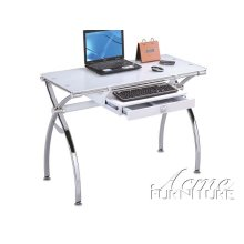 Retro Chromed Metal & White Tempered Glass Computer Desk Set