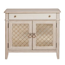 Reece Mirrored Two Door Media Cabinet in Distressed Cream / White