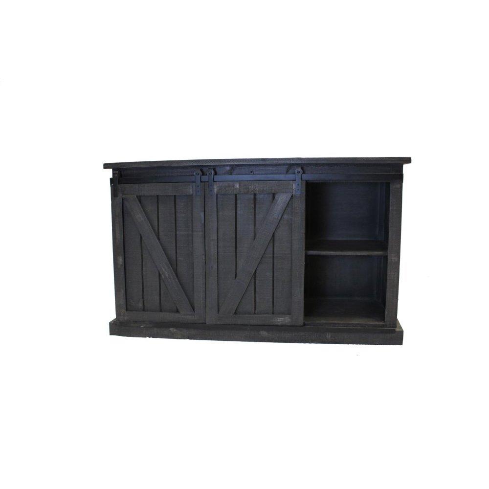 """60"""" Dark Gray TV Stand W/Barn Doors"""