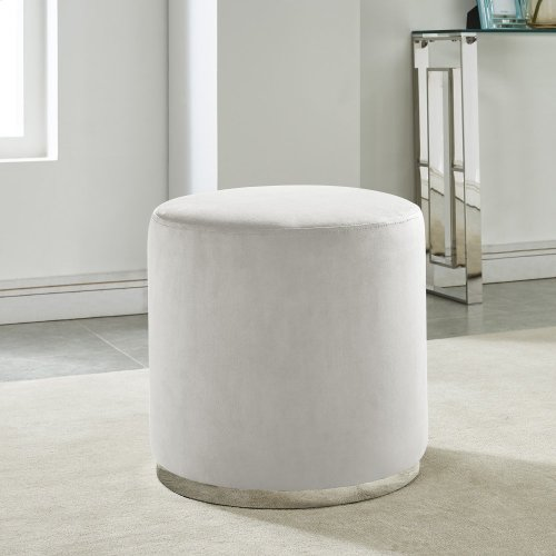 Opus Round Ottoman in Ivory & Silver
