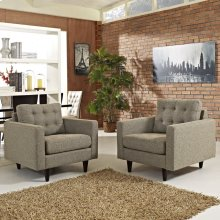 Empress Armchair Upholstered Fabric Set of 2 in Oatmeal