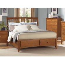 Queen Sleigh Profile Bed W/ Storage
