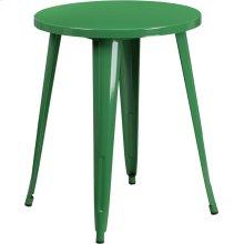 """Commercial Grade 24"""" Round Green Metal Indoor-Outdoor Table"""